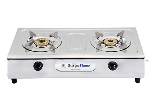 Surya Flame 2B Majestic Stainless Steel Brass Burner Gas Stove (2 Burner)..