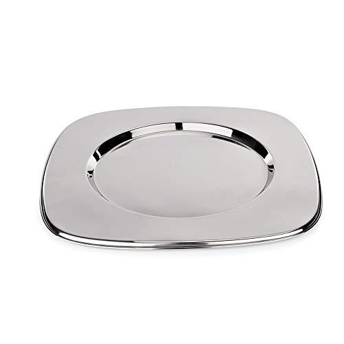 WAS 1243 330 Chromnickelstahl Platzteller, Viereckig mit Rundem Spiegel, Hochglanzpoliert, Ø 20.5cm, 33 cm x 33 cm