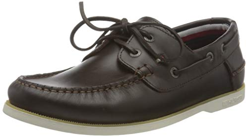 Tommy Hilfiger Classic Leather Boat Shoe, Scarpe da Barca Uomo, Cacao, 40.5 EU