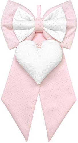 fiocco nascita rosa elegante per bimba in tessuto glitter con cuore in tela aida da ricamare a punto croce - fiocco nascita fai da te da ricamare nome femminile (Rosa glitter, Standard 23x45cm)