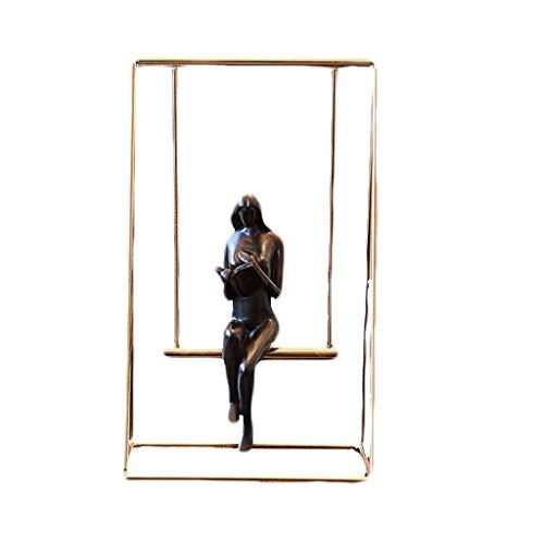 ZLJ Escultura Metal Hierro Personaje Abstracto Estatua Columpio Pareja Estudio Escritorio Estantería Decoración Adornos Accesorios Interiores para el hogar (Dos Piezas) Estatuas (Tamaño: S)