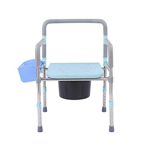 Adesign Silla de Ducha Impermeable portátil Baño de heces, con Altura Ajustable.Incluye conexión cómoda del Cubo y la Tapa (Azul)