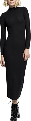 Urban Classics TB1710 Damen Kleid Ladies Long Turtleneck Dress Black, XS