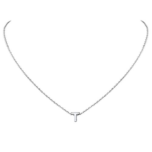 Suplight Collar de Letras Iniciales T Colgante Plata de Ley 925 Chapado en Oro Blanco Joyerías Delicadas para Mujer Chica Collares Modernos