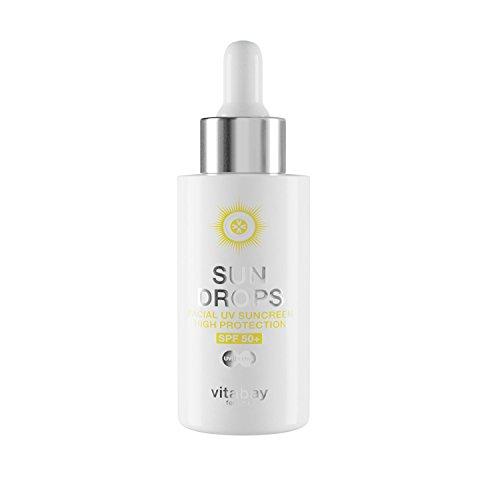 Vitabay SUN DROPS 40 ml • LSF 50+ Sonnenschutz Fluid • Face Suncreen • Anti-Aging Effekt • Wasserfest