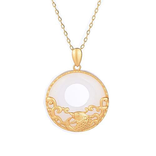 QiuYueShangMao Accessoires im nationalen Stil, Design im nationalen Stil, Alter Donut-Anhänger, jeder weiblich, Jadeanhänger Freundschaftshalskettengeschenk