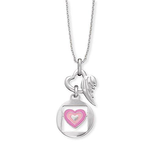 Herzengel Love Kette mit Anhänger für Mädchen mit Herzchen 925er-Sterlingsilber rhodiniert Länge 37 cm plus 2 cm
