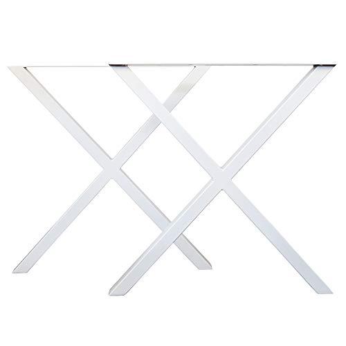 LOFTSTORY Set 2 Patas de Mesa Acero Hierro, Ideal para Muebles de Comedor Salon Centro Despacho Oficina, Hecho a Mano Forma X, Estilo Industrial Loft Vintage Blanco 70x72 cm