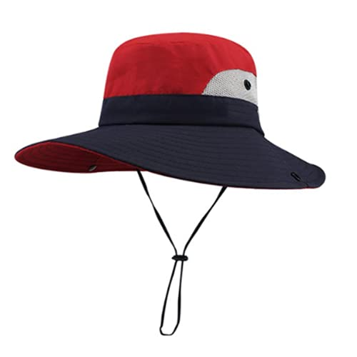 Sombrero Pescador, Plegable Sombrero de Sol, Malla con ala ancha que protege hasta el cuello y correa de barbilla, Protección UV para Exteriores para Hombre Mujere (Red,56-58cm)