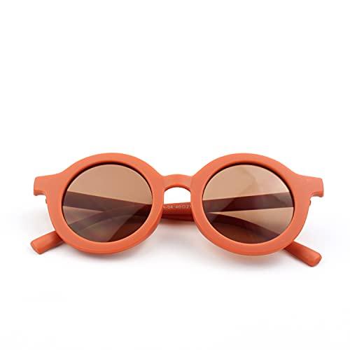 Lunette de Soleil Enfant - Fille et Garçon - Couleur Rouge Brique - Look Design et Rétro - Protection Solaire UV 400 - Avec Etui de Rangement
