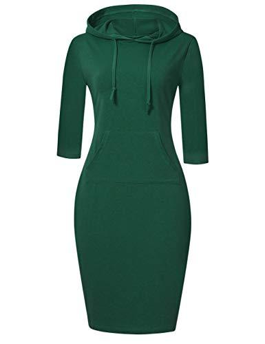 MISSKY Women Pocket Knee Length Slim Sweatshirt Casual Pullover Hoodie Dress (2XL,DarkGreen44#)