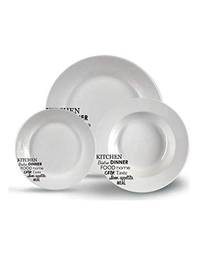 AR Vajilla Porcelana 18 Piezas 6 Servicios Frases, Varios, TU