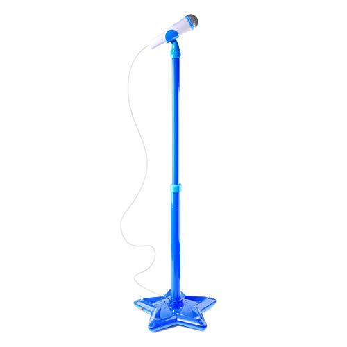Foxom Mikrofon Kinder, 45-79cm Verstellbare Karaoke Mikrofon Kinder mit Ständer Mikrofon Spielzeug für Kinder Junge Mädchen ab 3 Jahre (Blau)