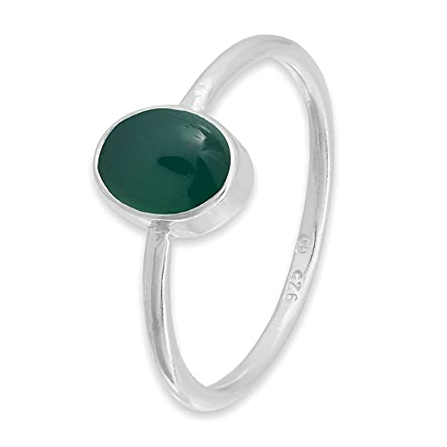 Anillo de plata de ley 925 verde ónix (No: MRI 100), Ringgröße:46 mm/Ø 14.6 mm