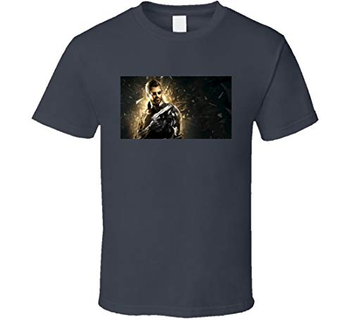 FULL ON Deus Ex Mankind Divided Fun Video Game Trailer Release Graphic Tee Shirt Charcoal Grey
