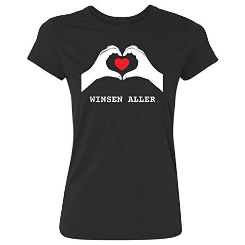 JOllify Frauen T-Shirt WINSEN ALLER G2089 - Farbe: schwarz - Design 7: Hände Herz - Größe XXL 2XL