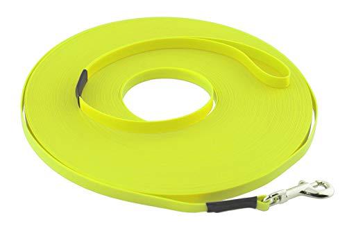 LENNIE Leichte BioThane Schleppleine, 9mm, Hunde bis 5kg, 5m lang, mit Handschlaufe, Neon-Gelb, genäht