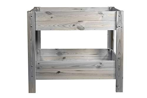 mgc24® Hochbeet - Kiefernholz anthrazit/grau rechteckig, für Garten/Terrasse/Balkon - ca. 80 x 40 x 78 cm mit 2 Etagen