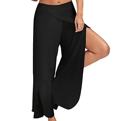 Bebling Pantaloni Harem da Donna Pantaloni Sportivi da Spiaggia a Fessura Jogger Hippie Beach Neri, Grandi