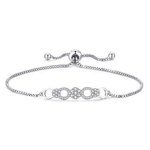 Tusuzik Infinity Love Heart Bracelet, 925 Sterling Silver Adjustable Charm Forever Infinity Bracelet with Sparkling 5A Cubic Zirconia for Women Girls Jewelry Gift