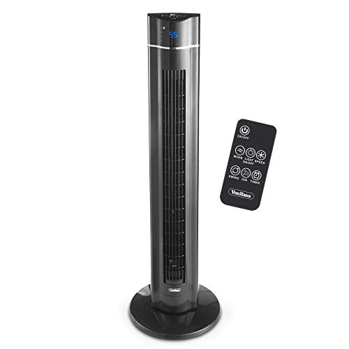 VonHaus 43' Quiet Oscillating Tower Fan with Remote Control, LED Display, 3 Speed and Fan Settings, Aroma Tray and 1-8 Hour Timer