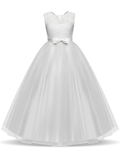TTYAOVO Girls Pageant Ball Gowns Kids Chiffon Embroidered Wedding Party Dress Size 11-12 Years White