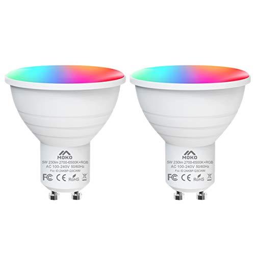 MoKo Smart WLAN LED Lampe, GU10 5W Dimmbar Glühbirne Mehrfarbig RGB+Weiß Licht, WiFi Birne mit APP- und Sprachsteuerung, Kompatibel mit Alexa Echo Google Home, ohne Hub Benötig - 2 Pack