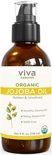 Certified Organic Jojoba Oil ; 100% Pure & Cold Pressed, Natural Moisturizer for Face and Hair and Great for all Skin DIYs (Polishes, Masks, Body), 4 oz