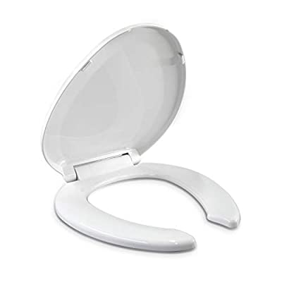 Elongated Toilet Seats, Slow Close Hinge with Lid, Open Front, Made of Heavy Duty Plastic, For Rental or Commercial Use, Oval, White