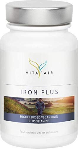 VITAFAIR Iron Plus - Iron, Vitamin C, B12 & Biotine - 120 Caps (4 Months) Vegan, No Additives, Lab-Tested, German Quality - Covers Daily Requirements - Skin, Hair, Nails Supplement