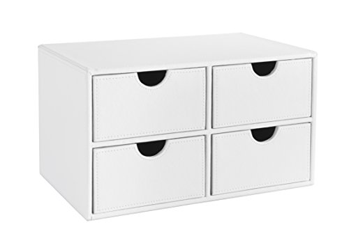 Osco WPU4DC Faux Leather 4 Drawer Chest - White