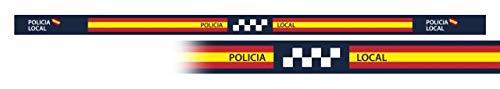 Pulsera Policia Local 6 unidades tamaño 33 x 1,4 cm de hilo tricotado Caza, Pesca, Camping, Outdoor, Supervivencia y Bushcraft + portabotellas de regalo