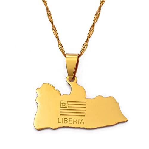 Mapa de Liberia Bandera Colgantes de color dorado Collares pendientes Joyería de Liberia Oriente Medio