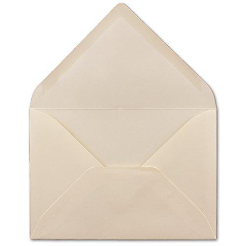 50 DIN B6 Briefumschläge Creme - 12,5 x 17,5 cm - 80 g/m² Nassklebung Post-Umschläge ohne Fenster für Einladungen - Serie Colours-4-you