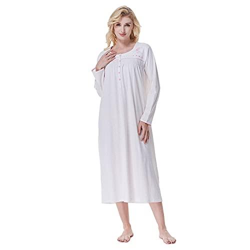 Keyocean - Camisón para mujer, 100% algodón, suave, cálido, cómodo, ropa de dormir y descanso para otoño e invierno