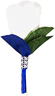 Angel Isabella White Rose Boutonniere with Royal Blue Ribbon