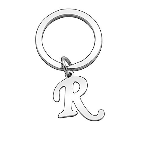 Personalized Women Men Silver Letter Alphabet Initial Keyring Bag Car Key Ring Chain (R)