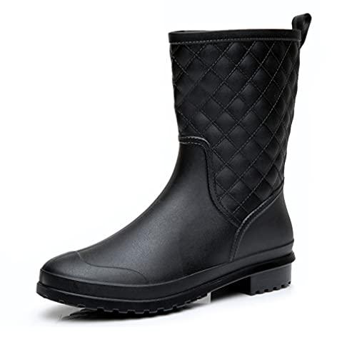 Gummistiefel Damen Halbhoch Wasserdicht Gummistiefeletten Regenstiefel Kurzschaft Boots Outdoor Gartenschuhe Anti-Rutsch Schwarz Blau Größe 36-42,BK42