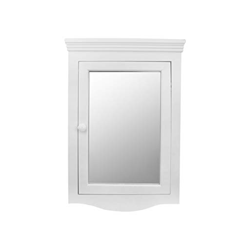 Corner Medicine Cabinet White Hardwood Wall Mount Recessed Mirror Easy Clean | Renovator's Supply