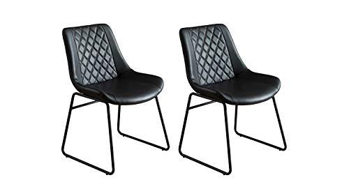Möbel Akut Stuhl Esszimmerstuhl Lehnstuhl Wartezimmerstuhl gepolstert Metall schwarz Kunstleder gesteppt Industrial Industrie Vintage Loft Design modern 2er Set