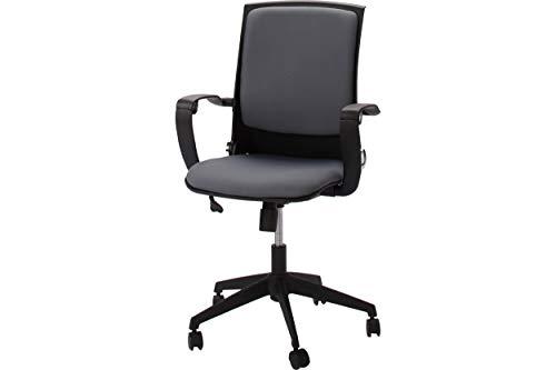 Homemania bureaustoel Eagle zwart grijs verstelbare zithoogte met wielen en armleuningen, PP, stof, eenheidsmaat