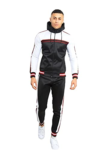 mymixtrendz Mens Contrast Cuffed Designer Tracksuit Skinny Fit Stretch Body Fit Zipped Top and Joggers Bottoms Black m