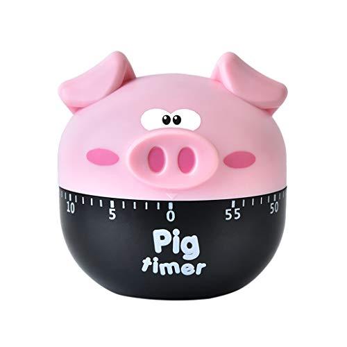 VNEIRW Küchentimer, Eieruhren, Comic Schwein Zeitmesser Küche Kurzzeitmesser, Alarm Sound Countdown Timer Home Backen Kochen Steaming Manual Timer (Pink)