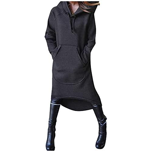 Zldhxyf Sudadera con capucha para mujer, larga hasta la rodilla, grande, con bolsillo, informal, monocolor,...