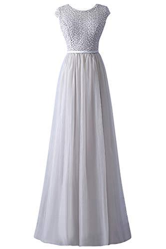 MisShow Damen Elegant Abendkleid für Hochzeit Tüll Festlich Kleid Applique lang Nude Rosa 40