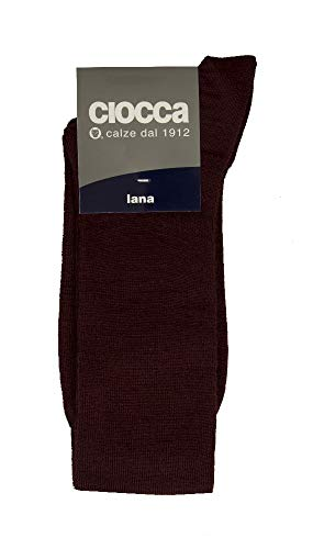 Ciocca 1 Calcetín alto para hombres 80% lana artículo 888, BOR Bordeaux, TAGLIA 10-10mezzo-PIEDE 40/41