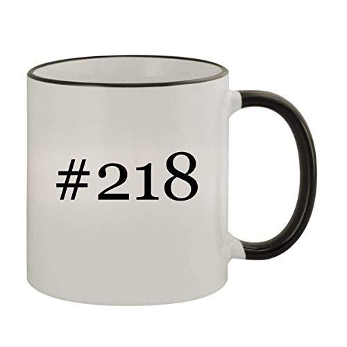 #218-11oz Ceramic Colored Rim & Handle Coffee Mug, Black