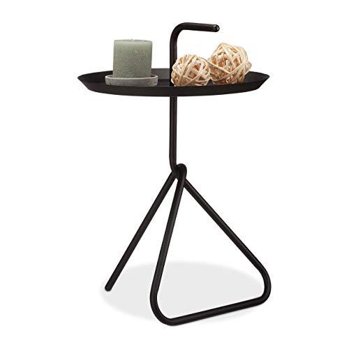 Relaxdays, schwarz Beistelltisch aus Metall, Runder Ablagetisch mit Tragegriff, Moderner Couchtisch, HxD ca. 59 x 40cm, Standard