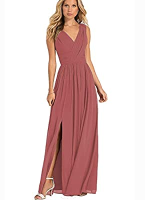 Cinnamon Rose V-Neck Wedding Bridesmaid Dresses Long Modest Chiffon Formal Evening Party Dress with Side Slit 2020 Size 4