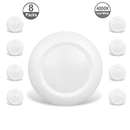JULLISON 8 Packs 6 Inch LED Low Profile Recessed & Surface Mount Disk Light, Round, 15W, 900 Lumens, 4000K Cool White, CRI80, Driverless Design, Dimmable, ENERGY STAR, ETL Listed, White